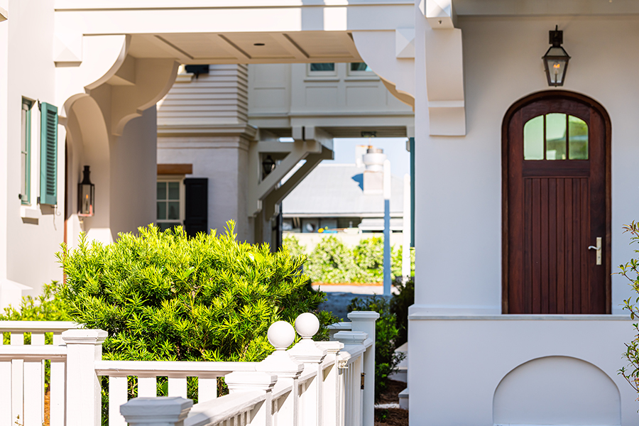 Jonesville, FL - Seaside Architectural Door and Path with Landscaping on a Sunny Day
